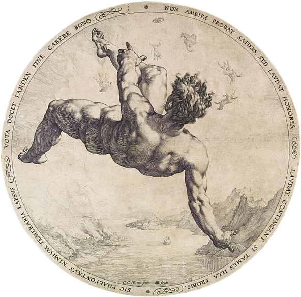 Engraving of a nude male figure falling from the sky towards the sea, surrounded by Latin text in a circular frame