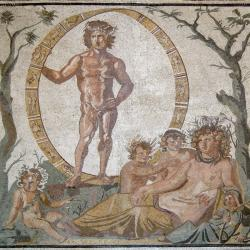 A Roman mosaic depicting Tella, the Roman goddess identified with Gaia, and her four children