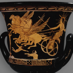 A large mixing pot (krater) with red figure illustrations of Helios driving his chariot; erotes fly around