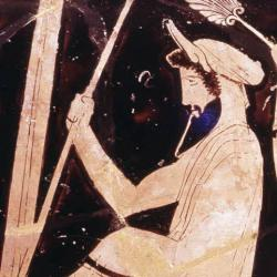 Midas with asses ears poking out from under his turban; red figure pot