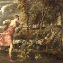 Artemis holding a bow watches as a stag-headed Aktaion is torn apart by his hounds